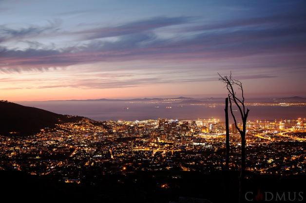 Cape Town city center seen from the slopes of Table Mountain